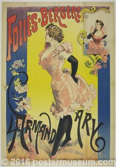 Description: The famous Parisian cabaret music hall of the 1880's Belle Époch, Folies Bergère promoting the star performer of the moment, Larmand Ary.