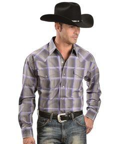 Stetson Purple & Grey Plaid Long Sleeve Shirt