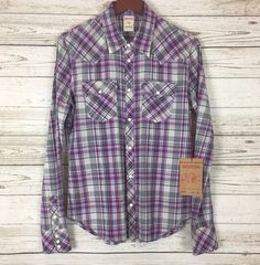 d638c938d8 NWT True Religion Womens Medium Western Shirt Purple Plaid Pearl Snap  128  NEW
