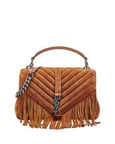 $2,450.00 Monogram Fringe College Suede Shoulder Bag, Dark Brown by Saint Laurent at Neiman Marcus. #ysl