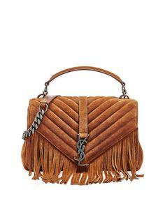 $2,450.00 Monogram Fringe College Suede Shoulder Bag, Dark Brown by Saint Laurent at Neiman Marcus. #ysl