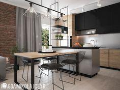 Średnia duża otwarta kuchnia jednorzędowa w aneksie z wyspą z oknem, styl industrialny - zdjęcie od Magda Mikołajczyk PRACOWNIA PROJEKTOWANIA WNĘTRZ