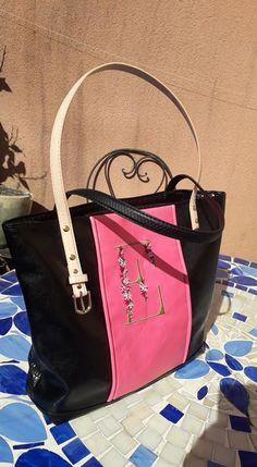 Sac cabas Cabôtin en simili noir et rose cousu par Elena - Patron Sacôtin