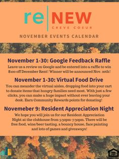 ReNew Creve Coeur is home to the best pet-friendly apartments in Creve Coeur,MO. We offer flexible lease terms, multiple floor plan sizes and options, a full slate of amenities and features, and so much more! Call us today to learn more! November Events, Pet Friendly Apartments, Event Calendar, Property Management, Fun Stuff, Action, Tours, How To Plan, Pets