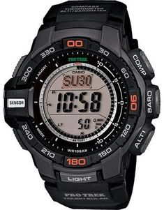 96db6dccc51 Casio Men s Pro Trek Solar Powered Triple-Sensor Watch with Black Resin  Strap. Relogio Masculino ...