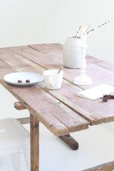 reclaimed wood + white