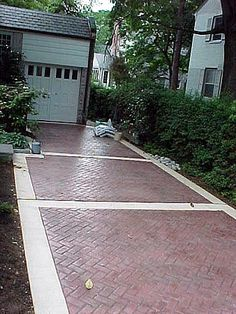 still loving the look of a brick driveway but don't think it is practical in this weather and with the slope. I have to walk out there with heels.maybe the stamped concrete has better traction. Stamped Concrete Patterns, Stamped Concrete Driveway, Brick Driveway, Driveway Design, Concrete Bricks, Concrete Driveways, Concrete Texture, Driveway Ideas, Walkways