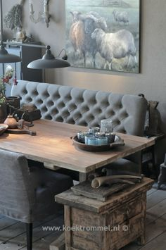 sofa for at the dining table by Hoffz Interieur - Carina van der Mark - . Rustic Cafe, Rustic Restaurant, Rustic Kitchen, Rustic Cottage, Rustic Farmhouse, Rustic Wall Decor, Rustic Backdrop, Rustic Desk, Bedroom Rustic