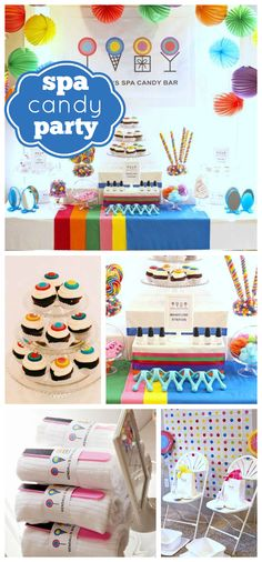 A Dylan's Candy Bar themed spa girl slumber birthday party with rainbow colored decorations!  See more party planning ideas at CatchMyParty.com!