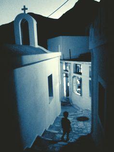 Magic hour in Apiranthos, Naxos, Greece.
