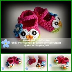 Ravelry: PDF Crochet Pattern No. 23 Owl Mary Janes Slippers Sizes Newborn to Child by AngelsChest pattern by Mary Angel Morris Crochet Slipper Pattern, Crochet Slippers, Crochet Patterns, Baby Slippers, Baby Patterns, Crochet Crafts, Crochet Projects, Knit Crochet, Owl Shoes