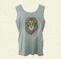 Hi lion tank Plus size tank top L XL Oversized Gray sleeveless shirt Plus Size Tank Tops, Kawaii Shop, Grey Shirt, Summer Shirts, Sleeveless Shirt, Printed Shirts, Lion, Unisex, Trending Outfits