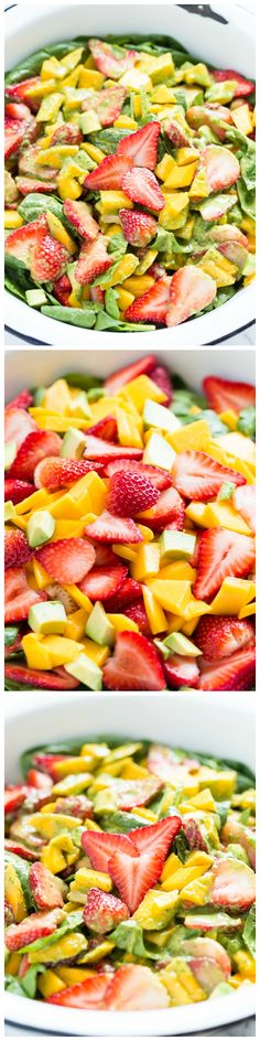 Strawberry Mango Spinach Salad with Creamy Basil Dressing - a fresh, simple taste of Spring! Steve can't have the Strawberries but it still looks delish! Paleo Recipes, Great Recipes, Cooking Recipes, Favorite Recipes, Creamy Basil Dressing, Healthy Snacks, Healthy Eating, Tasty, Yummy Food