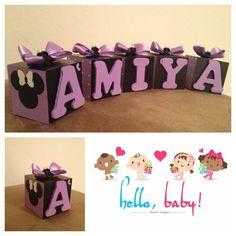 Hand Painted Minnie Mouse nursery blocks / black and purple. $5.00, via Etsy.