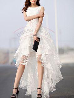 Gorgeous White Wedding Dresses,Floral Print Gauze Wedding Dresses,Panel Multi Layer Wedding Dress,Sleeveless Wedding Dresses,High-Low Wedding Dresses
