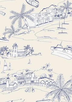 Close up of the Bahamas #Wallpaper in Blue and Beige from the #Biscayne collection! #Thibaut