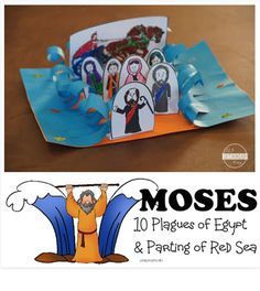 Moses Sunday School Lesson with 10 Plagues of Egypt Activity and Crossing the Red Sea Bible craft