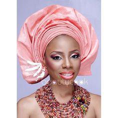 Nigerian wedding color series look book by Beautycook Studio peach salmon gele