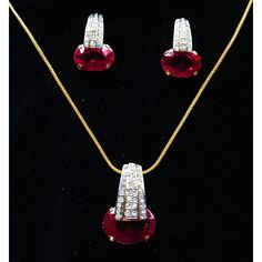 Ruby & CZ studded gold plated pendent set  - Online Shopping for Necklaces by Ami Designs