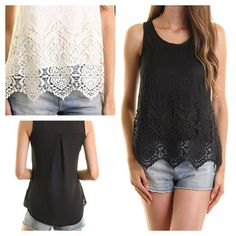 Black Lace Blouse Beautiful sleeveless top!  Made in USA.  Small fits a size 4, medium fits a 6/8.  No PP/No Trades.  Discounts on bundles. Boutique Tops Blouses
