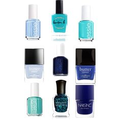 My favorite blues of nail polish by nyruallauryn on Polyvore featuring polyvore, fashion, style, Essie, Lauren B. Beauty, Deborah Lippmann and Butter London