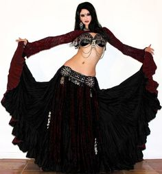 Scarlet's Lounge Tribal Belly Dance Reversible 25yd Cotton Gypsy Skirt. $109.99, via Etsy.