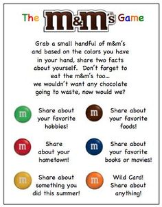 m&m ice breaker game - Google Search