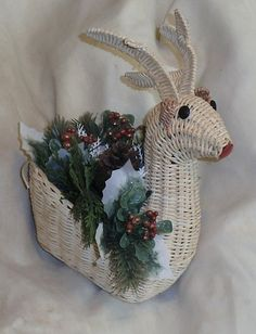 Wicker Reindeer with Holiday Greenery by Cookieums on Etsy, $10.00