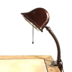 Unusual gooseneck Faries lamp, with metal banker-style shade and clamp. Desk Lamp, Table Lamp, Thing 1, Vintage Lamps, Clamp, Copper, Ceramics, Lighting, Metal