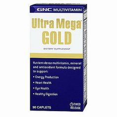 GNC Ultra Mega Gold 90cap by GNC. $15.40. Ultra Mega® Gold Dietary Supplement Nutrient-dense multivitamin, mineral and antioxidant formula designed to support: Energy Production Heart Health Eye Health Healthy Digestion Go for the gold with GNC's most potent multiple vitamin for men and women. Ultra Mega® is scientifically designed and combines important ingredients essential to maintaining good health. Just 2 times-release caplets provide important vitamins, minerals, enzyme...