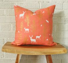 Coral and Gold Woodland Pillow Cover Coral deer by FigTreeBabyCo