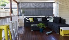 Queenslander style Deck by Walk Among The Homes  Brisbane homes, post war cottage with beach shack style, clean lines. simple interiors, bright and fresh! Photos by Elizabeth Santillan www.walkamongthehomes.com.au