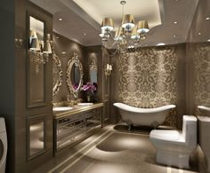 Luxury mirrored bathroom with wallpaper