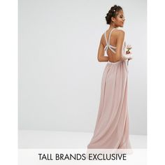TFNC Tall Wedding Embellished Maxi Dress With Jewel Strappy Back ($113) ❤ liked on Polyvore featuring dresses, wedding dresses and pink