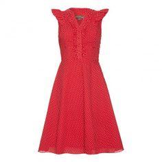Red/Cream Kansas Polka Dot Cotton Dress   BrandAlley
