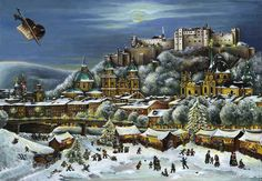 """FromBrück and Sohn (Printers in Meissen, Germany since 1793) a charming Advent Calendar of Salzubrg, Austria (home of Mozart and the Sound of Music)depicting the Christmas Market in front of the Hohensalzburg Castle. $10.49. This delightful advent calendar is 10"""" x 15"""".  Made in Germany.  Available at www.mygrowingtraditions.com"""