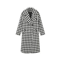 Yoins Oversize Lapel Collar Duster Coat featuring polyvore, women's fashion, clothing, outerwear, coats, yoins, white duster coat, print coat, houndstooth coat, longline coat and button coat