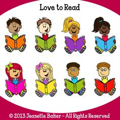 Love to Read Kids Clip Art © Jeanette Baker. Available at Jason's Online Classroom. $$