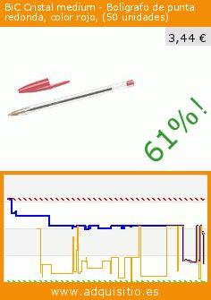 BiC Cristal medium - Bolígrafo de punta redonda, color rojo, (50 unidades) (Productos de oficina). Baja 61%! Precio actual 3,44 €, el precio anterior fue de 8,92 €. https://www.adquisitio.es/bic/bic-cristal-bol%C3%ADgrafo