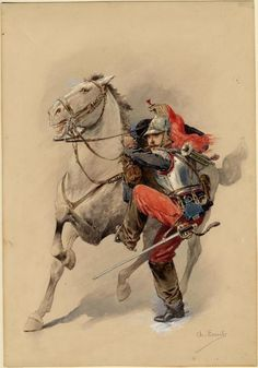 FRANCE - Cuirassier - France, trumpeter, 1892