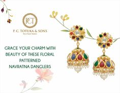 Grace your charm with beauty of these floral patterned navratna danglers. #PCTandSonsJaipur #jaipurjewellery #navratna #earings #floraldesign #picoftheday #jaipur #luxury #ethnic #traditional #india #rajasthan