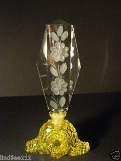 RARE Czech Bohemian Cut Yellow Perfume Bottle w Frosted Floral Etched Stopper | eBay by Janny Dangerous