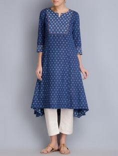 Indigo Block Printed Cotton Kurta