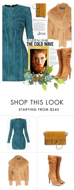 """""""cold wave party dress"""" by katymill ❤ liked on Polyvore featuring Balmain, Chloé, Gestuz, dress, party, partydress and coldwave"""