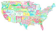 Lilly Pulitzer has every state in a colorful state of mind! The Pelican Girls are in AWE of whomever made this!