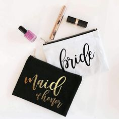 Bridesmaid Gifts, and Maid of Honor Gifts for the Bridal Party Including Bridesmaid Robes & Bridesmaid Tote Bags, Bridesmaid Tank Tops, Bridesmaid Proposal Gift Boxes, and More! Bridesmaid Makeup Bag, Bridesmaid Tote Bags, Bridesmaid Gifts, Bridesmaid Proposal, Bridesmaids, Silhouette Cameo, Custom Makeup Bags, Wedding Makeup Tips, Wedding Ideas