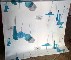 Vintage Mid Century Eames Era Atomic Starburst Design Fabric Panel | eBay
