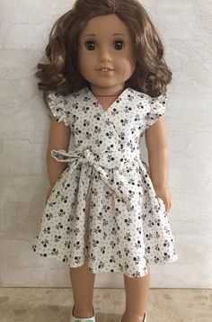 Frill Seekers Dress for 18 American Girl Doll Dress Sewing Patterns, Doll Clothes Patterns, Clothing Patterns, Doll Patterns, American Doll Clothes, Baby Doll Clothes, American Girl Diy, Faux Wrap Dress, Trendy Dresses