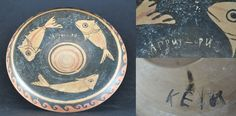 Greek Attic red figured vase Greek fish plate with inscriptions, 4th century B.C. Western Greek, probably Sicily, red figure fish plate with three fish and painted inscription before firing, on the back another inscription after firing, 18.5 cm diameter. Private collection