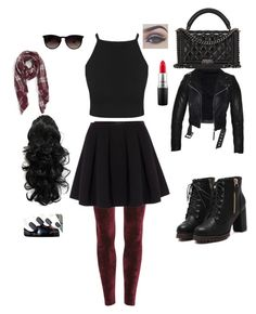 """Goth"" by lovercat24 on Polyvore featuring Polo Ralph Lauren, Chanel, Ray-Ban, Sole Society and MAC Cosmetics"